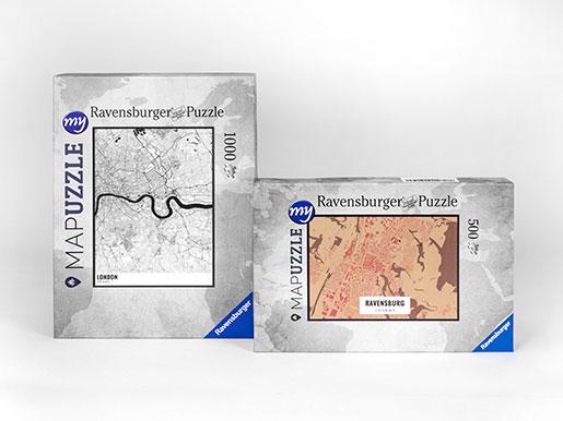 Stadtplan Puzzle Schachteln Hoch- und Querformat