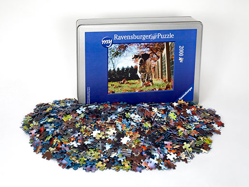 2000 pieces photo puzzle box and puzzle pieces